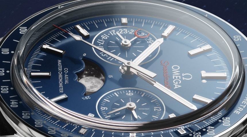 omega speedmaster moonphase blue replica