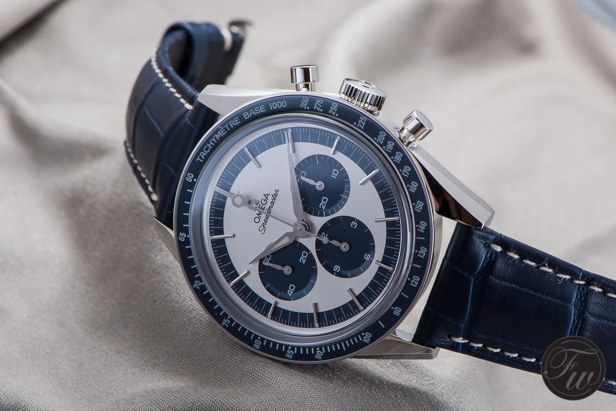 Ceramic Bezel Omega Speedmaster CK 2998 Replica Watch With Blue Leather Strap