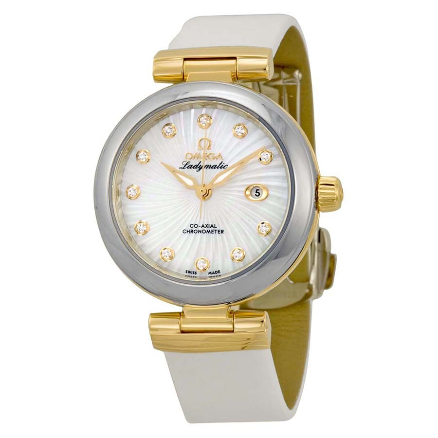 Omega De Ville Ladymatic Mother of Pearl White Leather Ladies Watch 42522342055002